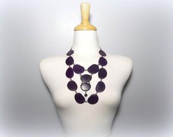 Eggplant Purple Eco Friendly Tagua Nut Necklace Bib with Free USA Shipping #taguanut #ecofriendlyjewelry