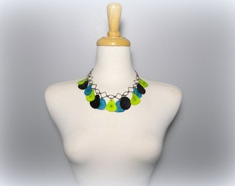 Black, Turquoise Blue, and Lime Green Tagua Nut Eco Friendly Bib Statement Necklace with Free USA Shipping  #taguanut #ecofriendlyjewelry