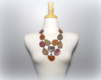 Taupe Camel and Mauve Tagua Nut Bib Statement Eco Friendly Necklace with Free USA Shipping #taguanut #ecofriendlyjewelry