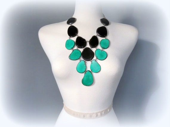 Noir Black and Teal Green Eco Friendly Tagua Necklace Bib with Free USA Shipping