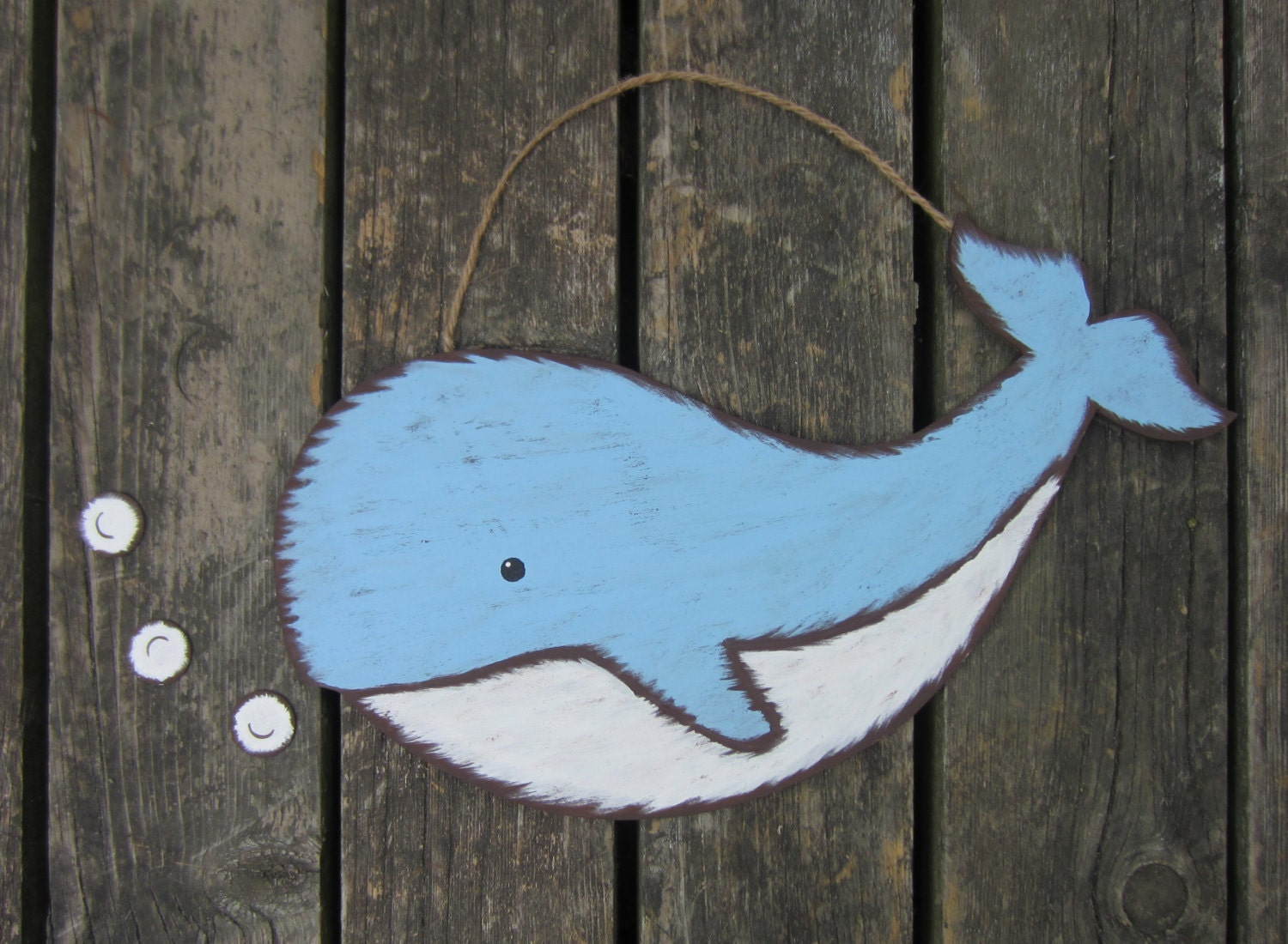 Whale Kids Wood Wall Art Original Hand Painted Nursery Decor