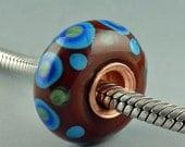 Tribal III, Lampwork Glass bead, Big Hole Bead, Slider Bead, Lined BHB, fits Euro Style Charm Bracelet, charm focal bead, Euro Charm Bead