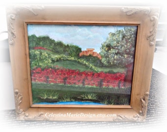 Countryside in the South of France, Hand Painted Print and Framed in Wood Detailed Finish, ECS