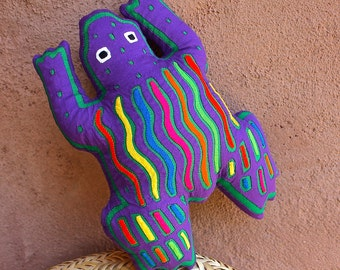 Fabulous, Super-Colorful Purple Mola Frog Pillow - Whimsical, Hand Sewn Kuna Indian Reverse Applique