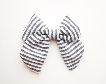 SAILOR BOW - Charcoal Stripe Bow