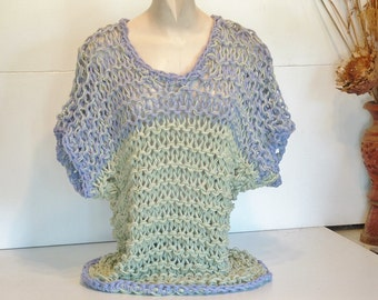 Chunky mesh coverup slouchy drop shoulder sweater beach topper casual top small medium women in lime and lilac