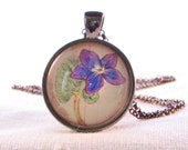 February Birth Month Flower Necklace - Violet - Unique Necklace - Nature Pendant - Botanical Art - Gift for Wife - Gift for Woman - Flower