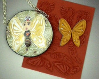 Tiny size Angel and Butterfly Wings stamp design sheet for polymer, ceramic or pottery