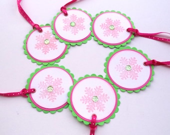 Snowflake Gift Tags, Lime Green and Pink, Set of 6, Label Gifts, Christmas Decor