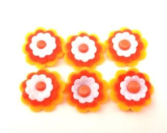 Felt Flower Embellishments Yellow Orange White Orange Center Brad Set of 6
