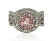 Sapphire Engagement Ring, Soft Pink Sapphire Wedding Set with Pink Sapphire and Diamond Double Halo - LS1715