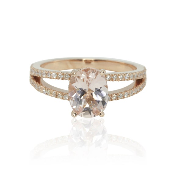 Rose Gold Engagement Ring Split Shank Morganite Engagement