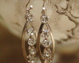Repurposed Vintage Rhinestone Earrings. Drop. Dangle. Upcycle recycle repurpose, Vintage assemblage earrings.