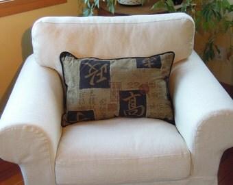 Rustic Oriental Pillow,  Natural, Hemp, Linen, Lumbar, Rust, Brown, Black, 16 x 24