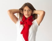 Red knit bow collar,knit scarf,neckwarmer,cowl scarf,neck warmer,scarf with pleats
