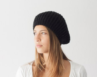 Black knit beret knit hat slouchy beanie womens knit hat