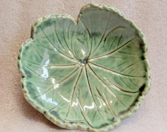 Sage Green Handmade Pottery Leaf Trinket Tray, Spoon Rest, Candle Holder, Tea Bag Holder or Soap Dish