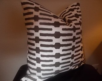 Annie Selke pillow cover Links Decorative Brown and white pillow cover Geometric