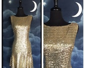 Vintage 1960s Mod Mad Men Gold Sequined Sparkly Wiggle Dress- Size Medium
