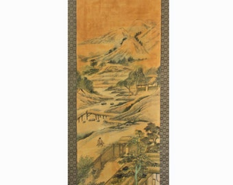 Tea Time, Chinese scroll painting water color on paper, artist signed - Scroll109