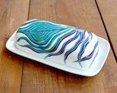 Peacock Feather Butter Dish - Hand Painted Porcelain Butter Dish, Painted Peacock Feather, Peacock Decor, Peacock Dish, Peacock Feathers