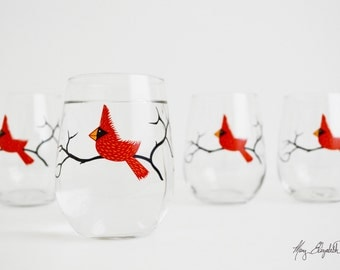 Christmas Glasses, Cardinal Wine Glasses - Set of 4 Red Bird Christmas Glasses, Cardinal Glasses, Christmas Glasses, Holiday Decor