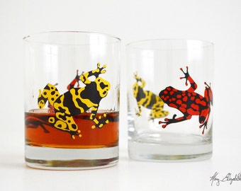 Poison Dart Frog Glasses - Set of 2 Red and Yellow Poison Dart Frog Whiskey Glasses, Double Old Fashion Glasses, Poison Dart Frogs