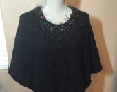 Black Poncho, Hand Knit in Chunky Yarn