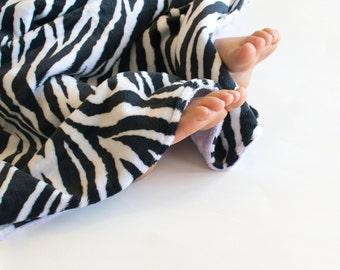 Minky Baby Blanket, Zebra Print, You Choose Minky Color