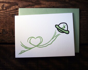 Letterpress Printed UFO Love Card - single