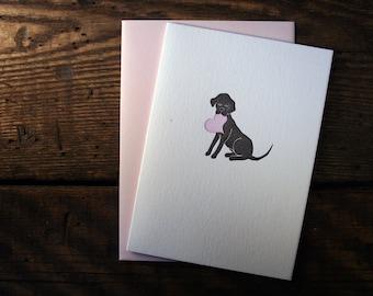 Letterpress Printed Black Lab Valentine/Love Card - single