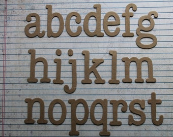 Typewriter Style Lowercase Alphabet bare Chipboard die cut  2 of each letter 52 total