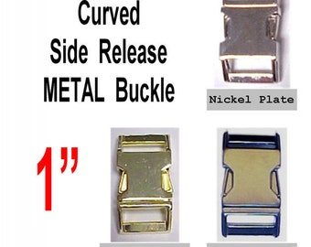 "4 BUCKLES - 1"" - METAL, Curved Side Release, Strap Collar, 1 inch, non Adjustable, Nickel or Brass Plate"