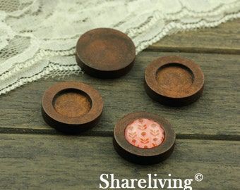 10pcs Vintage Wood Setting, Wooden Tray, Perfect for 16mm Cabochons