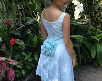 Tiffany Blue White Lace Wedding Dress with Detachable Flower Bustle