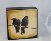Gold Crows Photograph on Wood Panel--Two Crows Two Directions--Fine Art