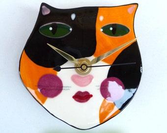 Ceramic Handmade Calico Cat Face Clock by Sharon Bloom