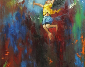 Leap painting 488 16x20 inch original portrait figure oil painting by Roz