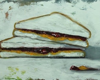PBJ Sandwich painting 61 12x24 inch still life original oil painting by Roz