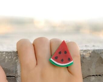 Watermelon Ring,Kawaii Jewelry,Lasercut Jewelry,Gifts Under 25
