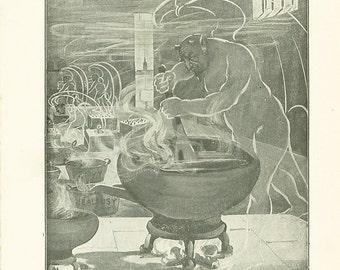 Vintage Book Plate Print The Devil Satan Antique Christian Illustration 1911 Cauldron