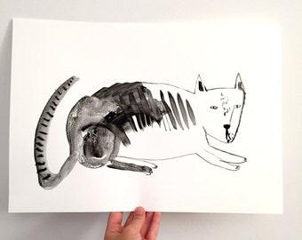 Original cat art painting ink illustration - black ink on paper || Storm Cat