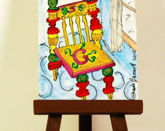 """ON SALE ACEO """" The Chair """" Original on Heavy Art Paper"""