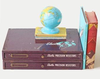 Vintage Purple Drawers, Industrial Metal Drawers, Electra Precision Resistors