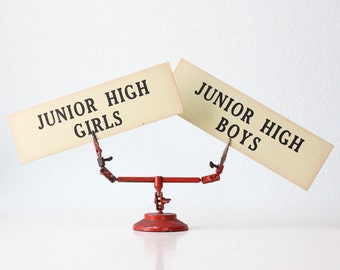 Vintage School Signs, Junior High Girls and Junior High Boys