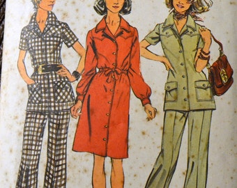 Vintage 1970s Sewing Pattern Simplicity 5735 Misses' Dress or Pant Suit Bust 36 inches Complete