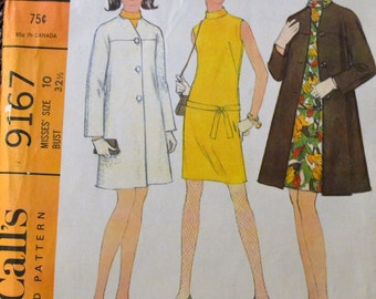 Vintage 60's McCall's 9167 Misses' Dress and Coat Size 10 Bust 32 UNCUT Complete