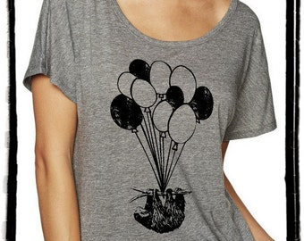 SLOTH with Balloons Dolman Tee Loose Slouchy Heathered tshirt shirt