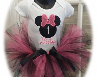 Minnie Mouse Pink Glitter Bow Birthday Tutu Set