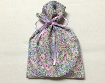 Purple Pink Floral Gift Bags - 5 Reusable Eco-Friendly Cotton Fabric